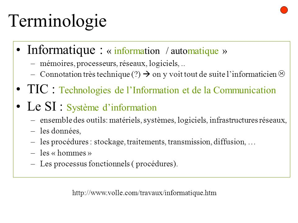 Terminologie Informatique : « information / automatique »