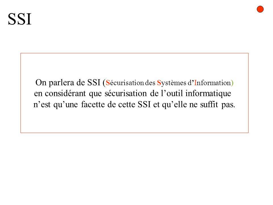 SSI On parlera de SSI (Sécurisation des Systèmes d'Information)