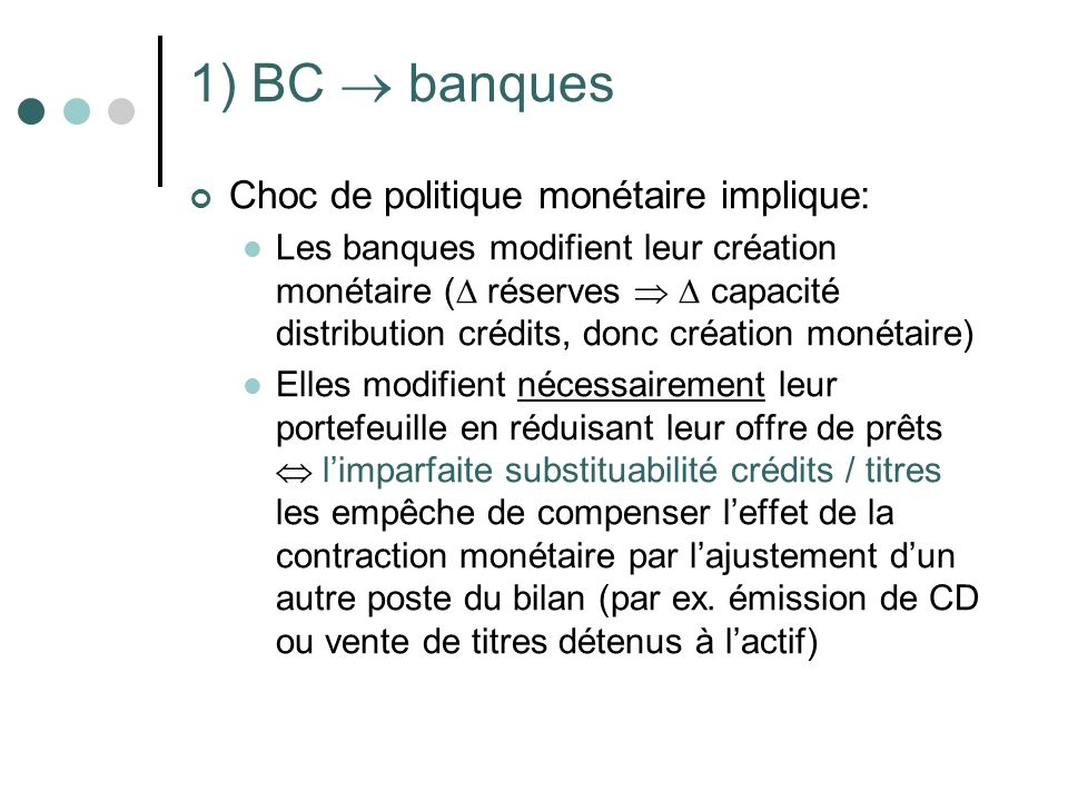 1) BC  banques Choc de politique monétaire implique: