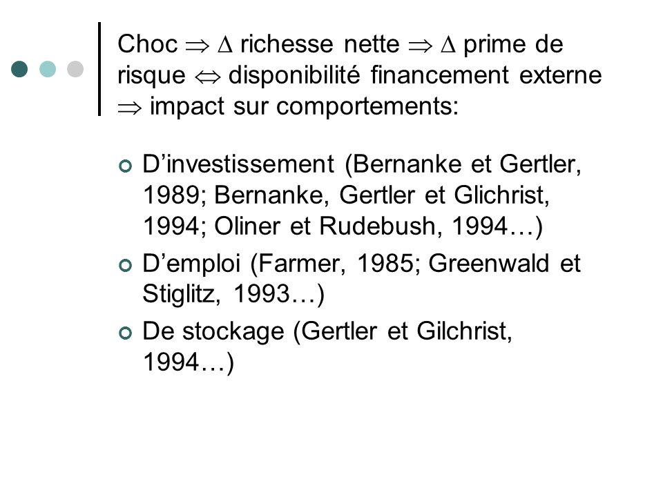 Choc   richesse nette   prime de risque  disponibilité financement externe  impact sur comportements: