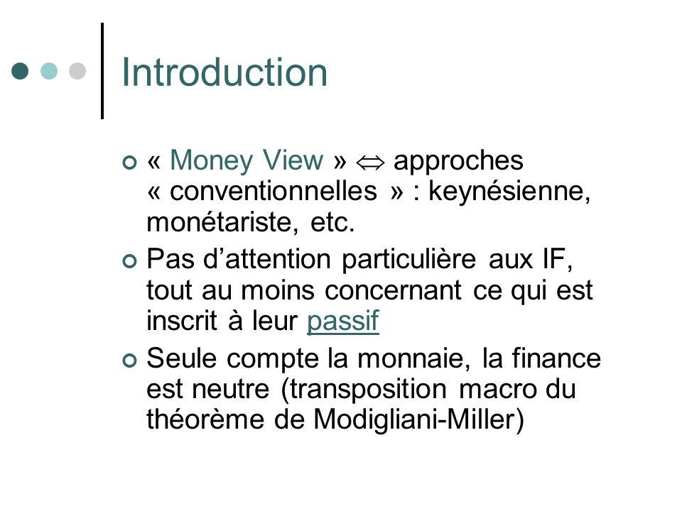 Introduction « Money View »  approches « conventionnelles » : keynésienne, monétariste, etc.