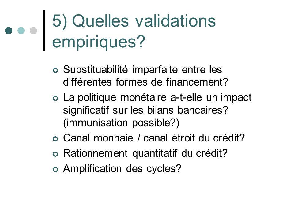 5) Quelles validations empiriques