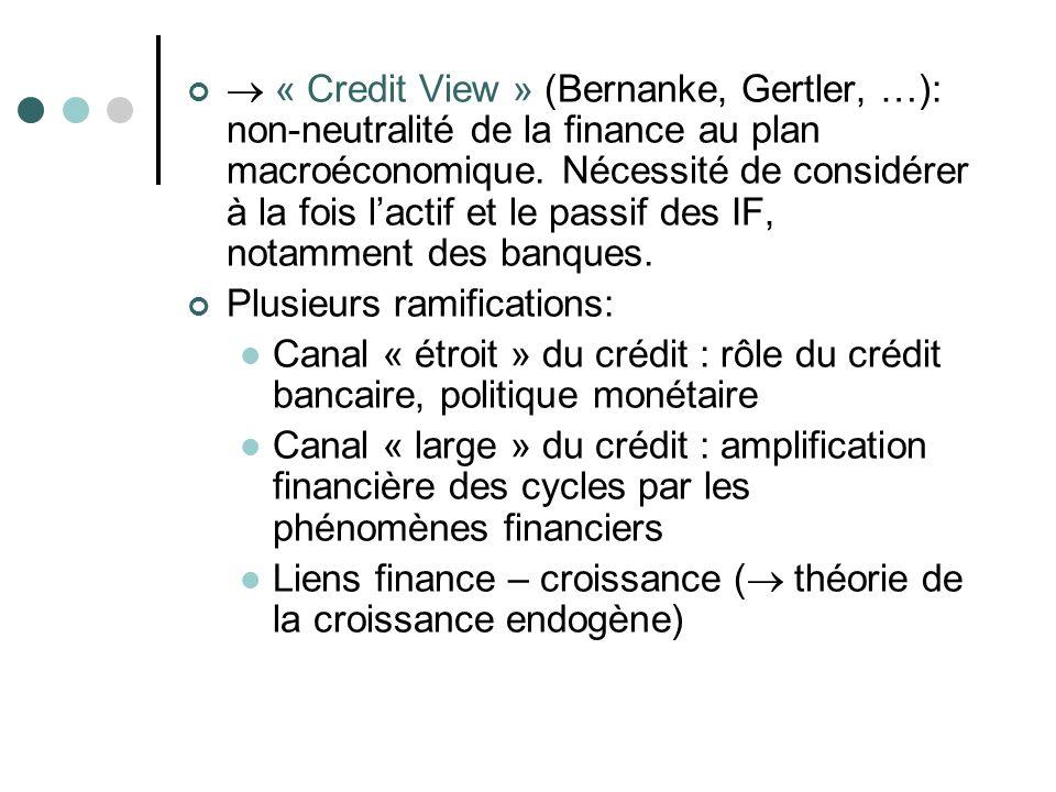  « Credit View » (Bernanke, Gertler, …): non-neutralité de la finance au plan macroéconomique. Nécessité de considérer à la fois l'actif et le passif des IF, notamment des banques.