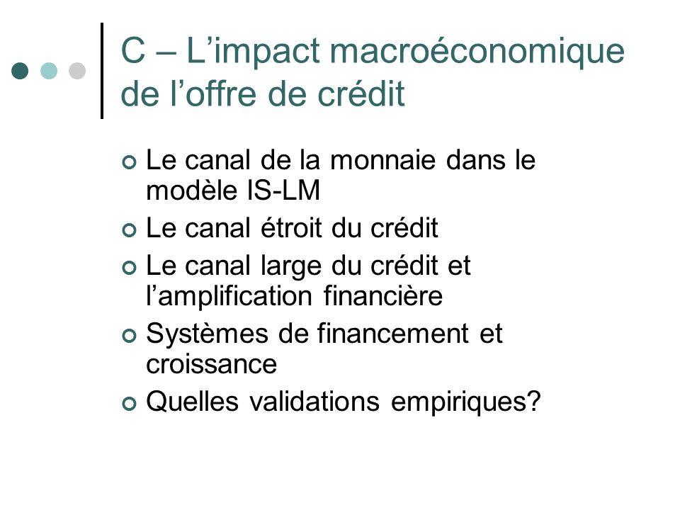 C – L'impact macroéconomique de l'offre de crédit