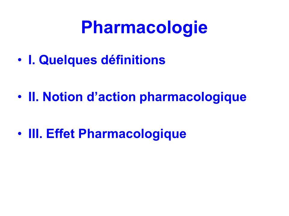 Pharmacologie I. Quelques définitions