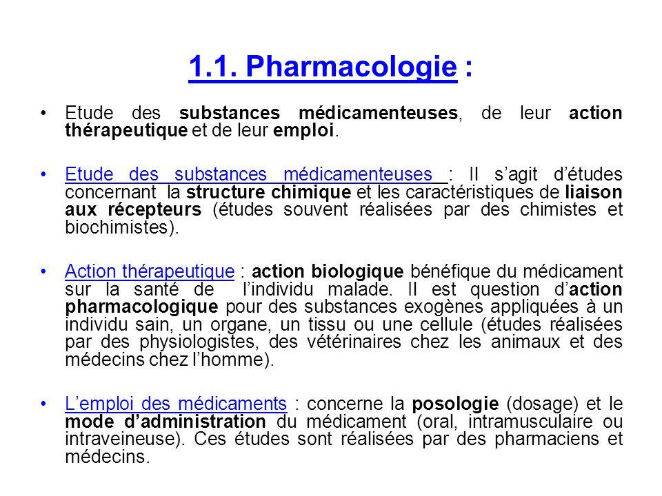 1.1. Pharmacologie : Etude des substances médicamenteuses, de leur action thérapeutique et de leur emploi.