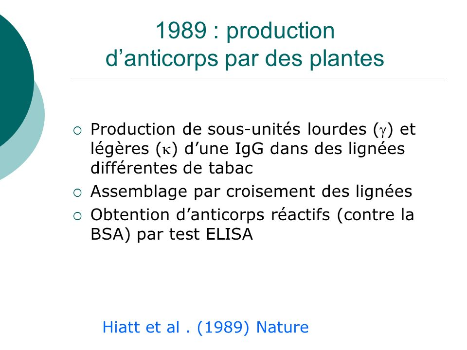 1989 : production d'anticorps par des plantes