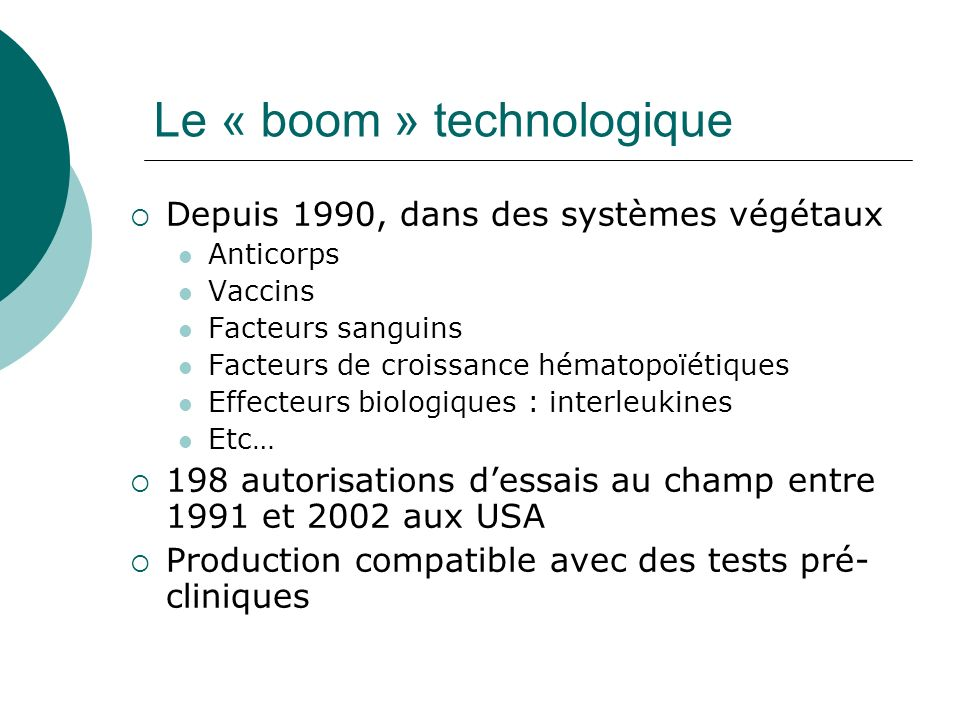 Le « boom » technologique