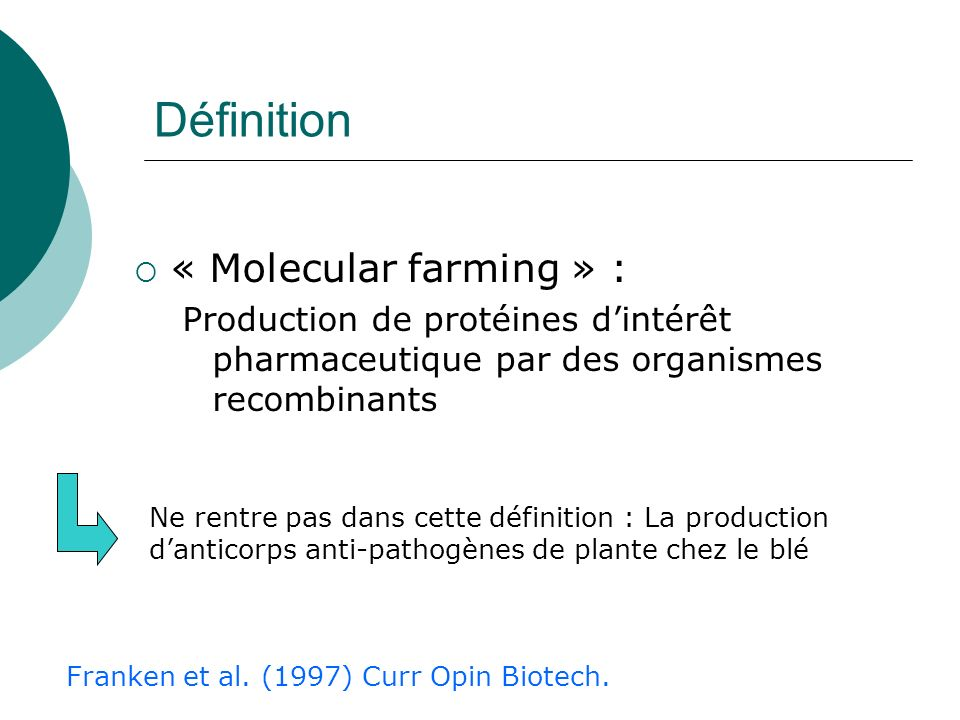 Définition « Molecular farming » :