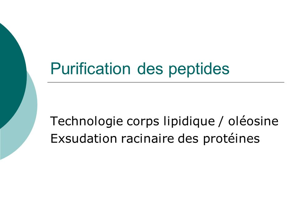 Purification des peptides