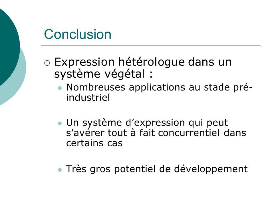 Conclusion Expression hétérologue dans un système végétal :