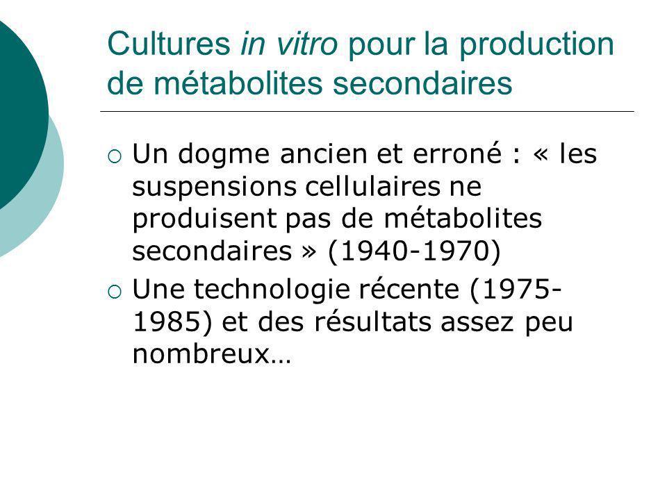 Cultures in vitro pour la production de métabolites secondaires