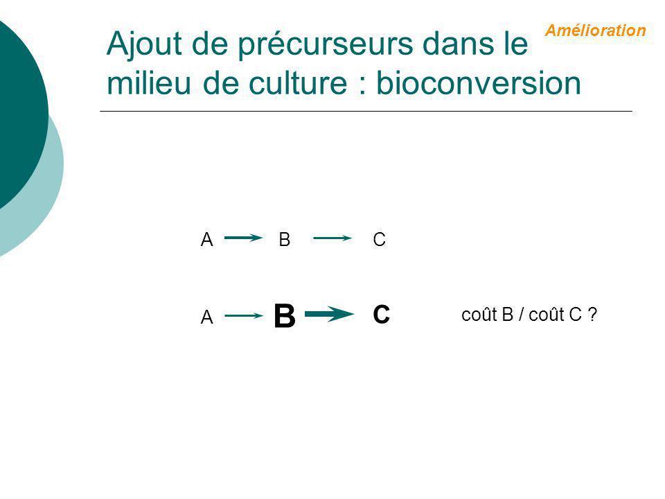 Ajout de précurseurs dans le milieu de culture : bioconversion