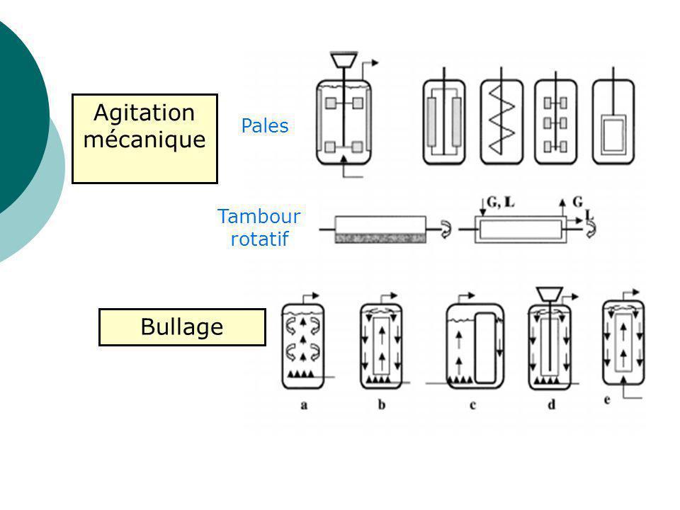 Agitation mécanique Pales Tambour rotatif Bullage