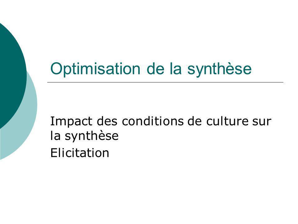 Optimisation de la synthèse