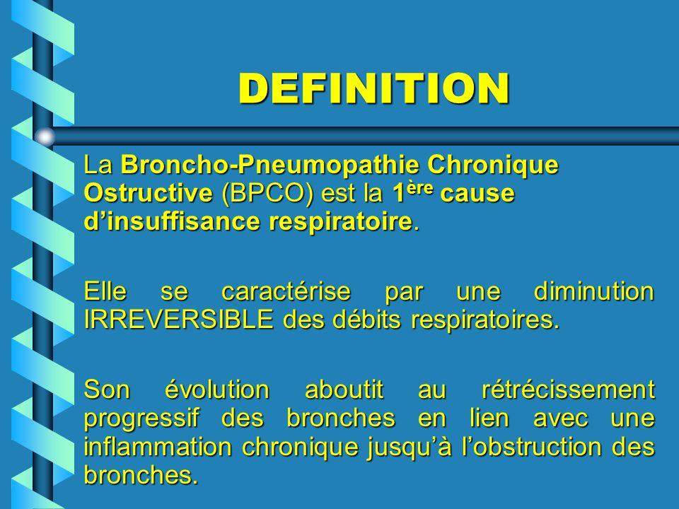 DEFINITION La Broncho-Pneumopathie Chronique Ostructive (BPCO) est la 1ère cause d'insuffisance respiratoire.
