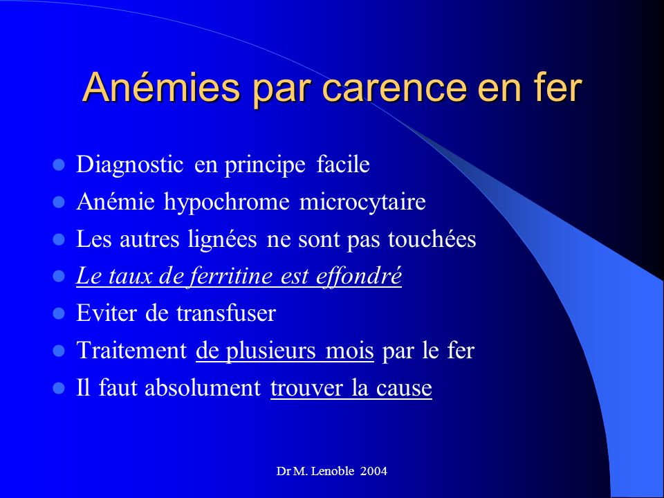 Anémies par carence en fer