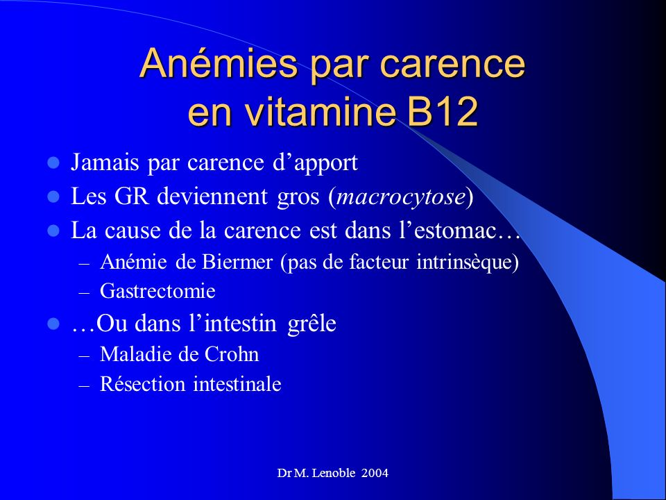 Anémies par carence en vitamine B12