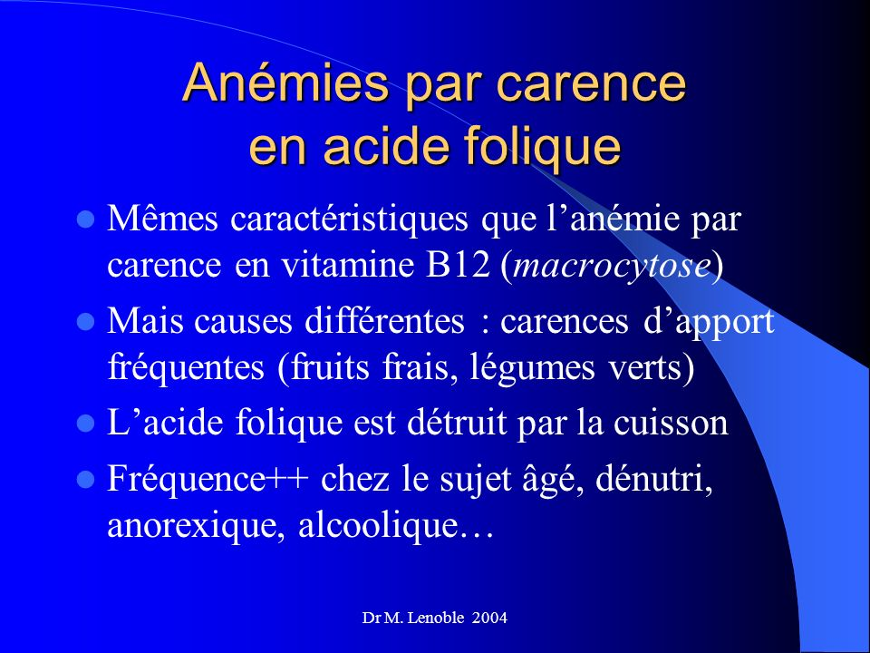 Anémies par carence en acide folique