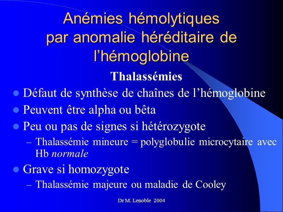 Anémies hémolytiques par anomalie héréditaire de l'hémoglobine