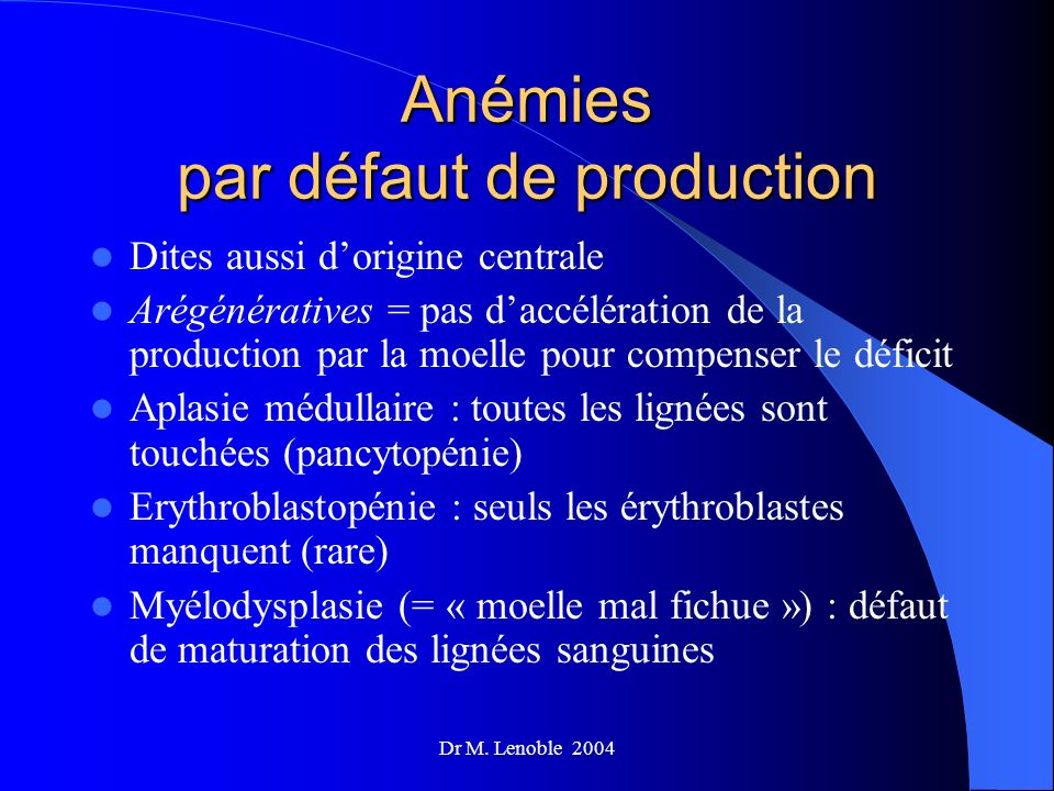 Anémies par défaut de production