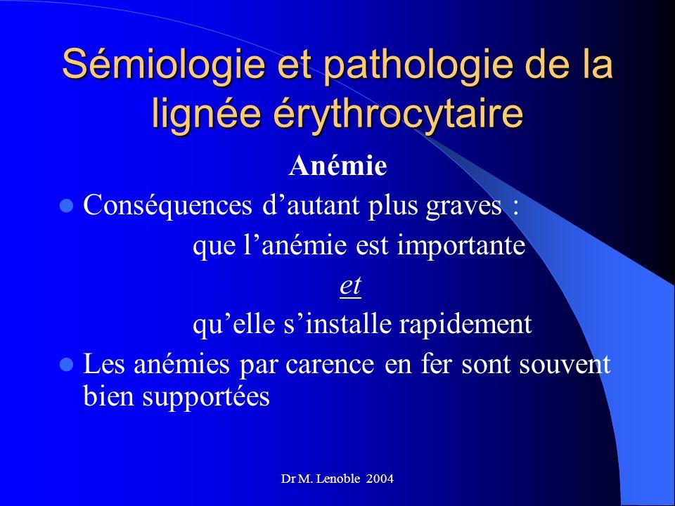 Sémiologie et pathologie de la lignée érythrocytaire