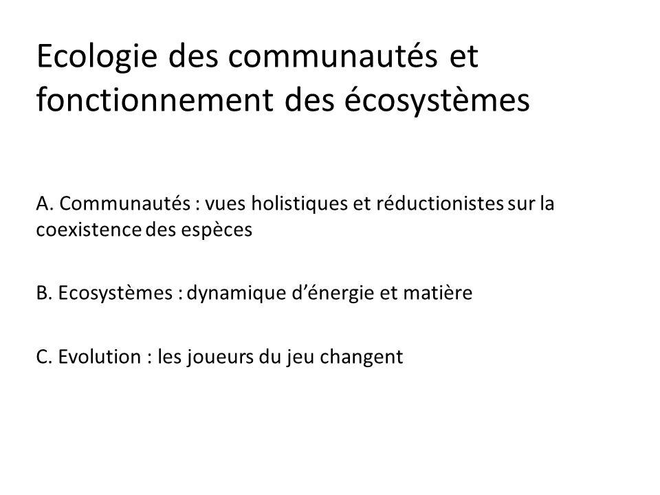 Ecologie des communautés et fonctionnement des écosystèmes