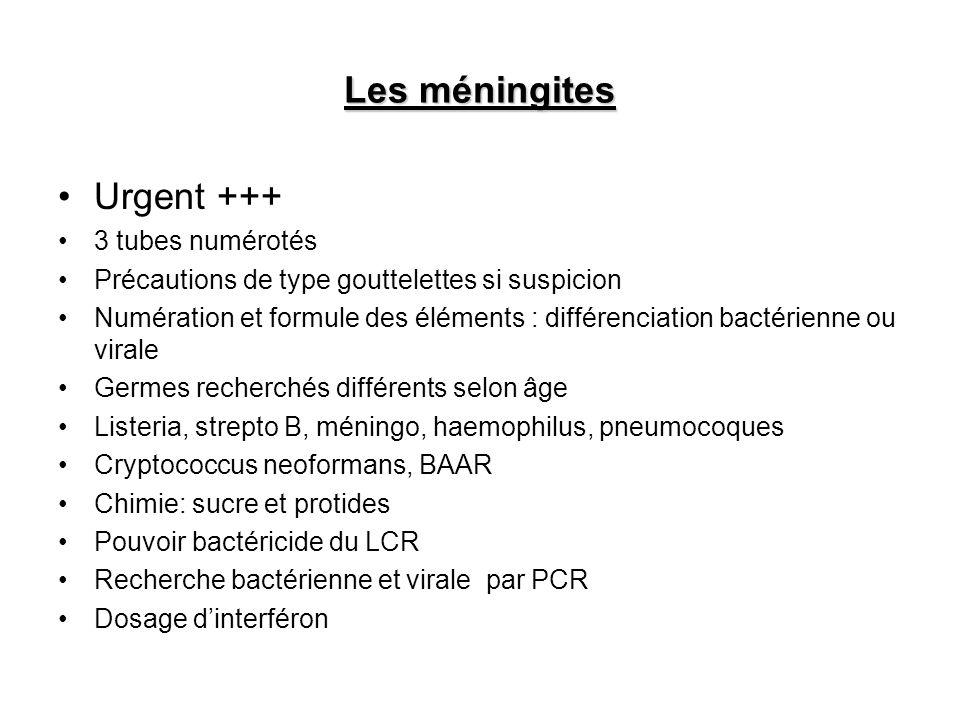 Les méningites Urgent +++ 3 tubes numérotés