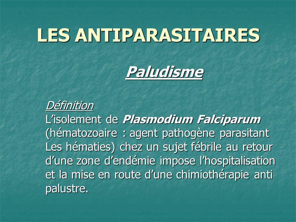 LES ANTIPARASITAIRES Paludisme Définition