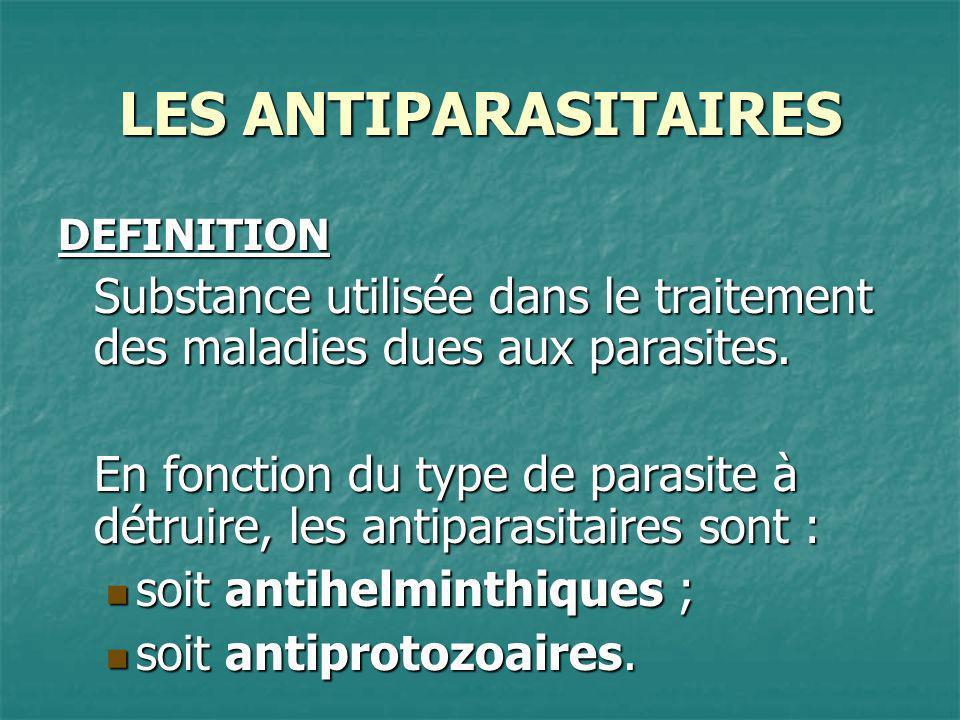 LES ANTIPARASITAIRES DEFINITION. Substance utilisée dans le traitement des maladies dues aux parasites.