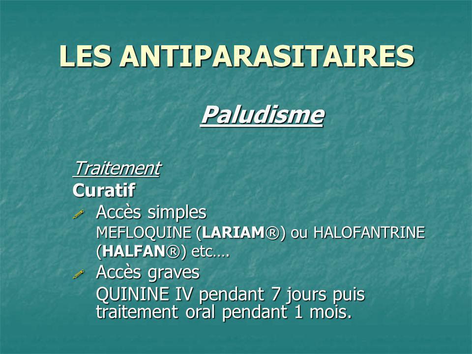 LES ANTIPARASITAIRES Paludisme Traitement Curatif Accès simples