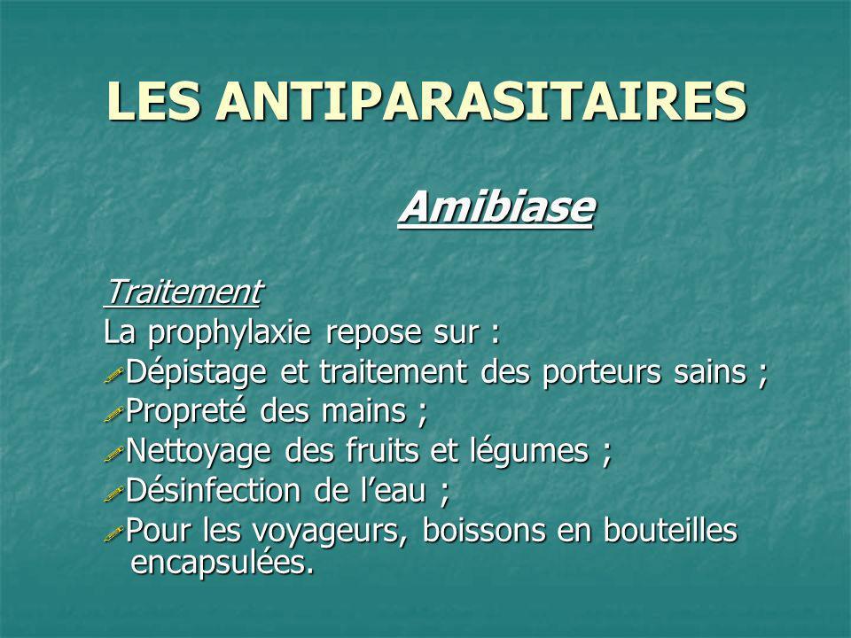 LES ANTIPARASITAIRES Amibiase Traitement La prophylaxie repose sur :