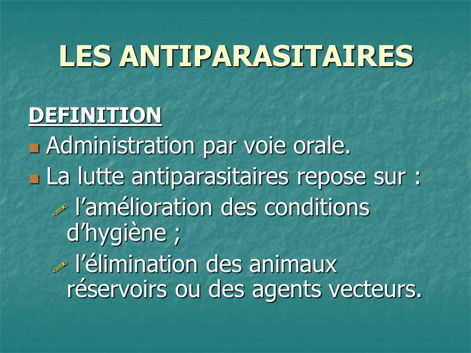 LES ANTIPARASITAIRES Administration par voie orale.