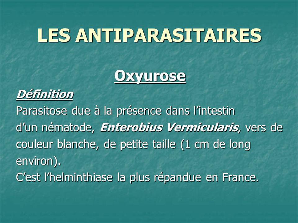 LES ANTIPARASITAIRES Oxyurose Définition
