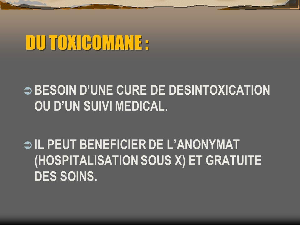 DU TOXICOMANE :BESOIN D'UNE CURE DE DESINTOXICATION OU D'UN SUIVI MEDICAL.