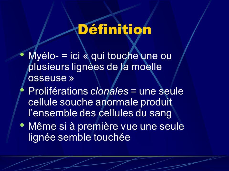 Définition Myélo- = ici « qui touche une ou plusieurs lignées de la moelle osseuse »