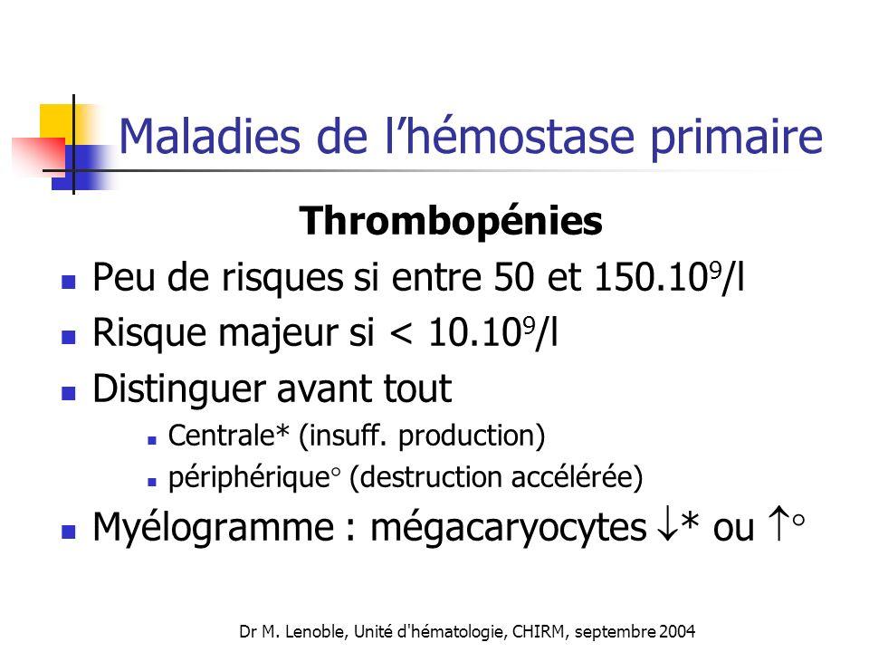 Maladies de l'hémostase primaire