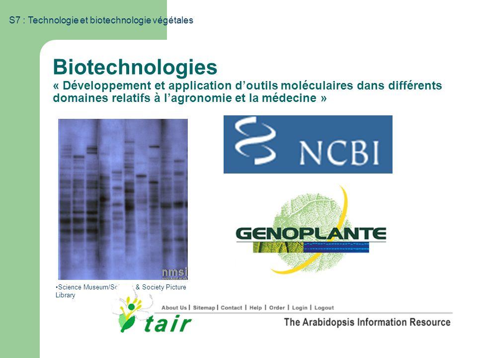 S7 : Technologie et biotechnologie végétales