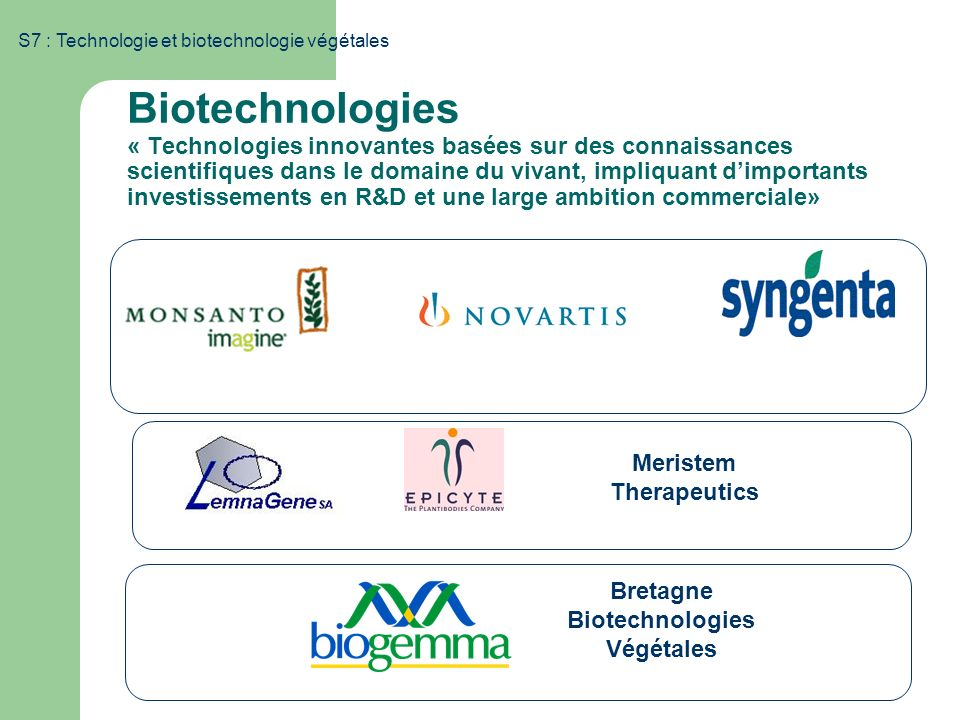 Meristem Therapeutics Bretagne Biotechnologies Végétales