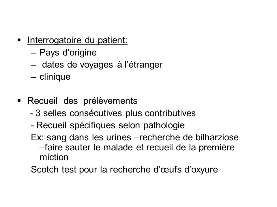 Interrogatoire du patient: