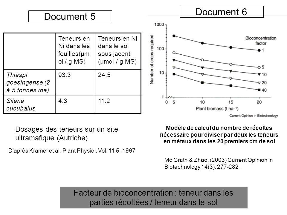 Document 6 Document 5. Teneurs en Ni dans les feuilles(µmol / g MS) Teneurs en Ni dans le sol sous jacent (µmol / g MS)