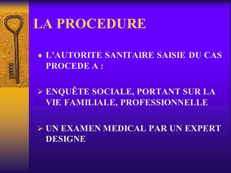 LA PROCEDURE L'AUTORITE SANITAIRE SAISIE DU CAS PROCEDE A :