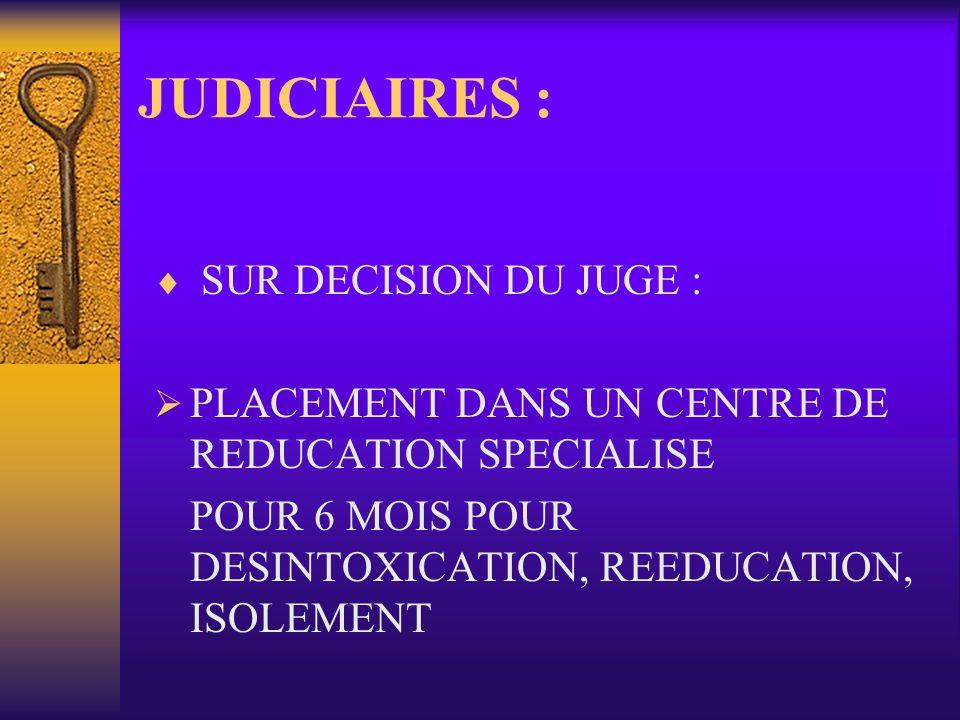 JUDICIAIRES : SUR DECISION DU JUGE :
