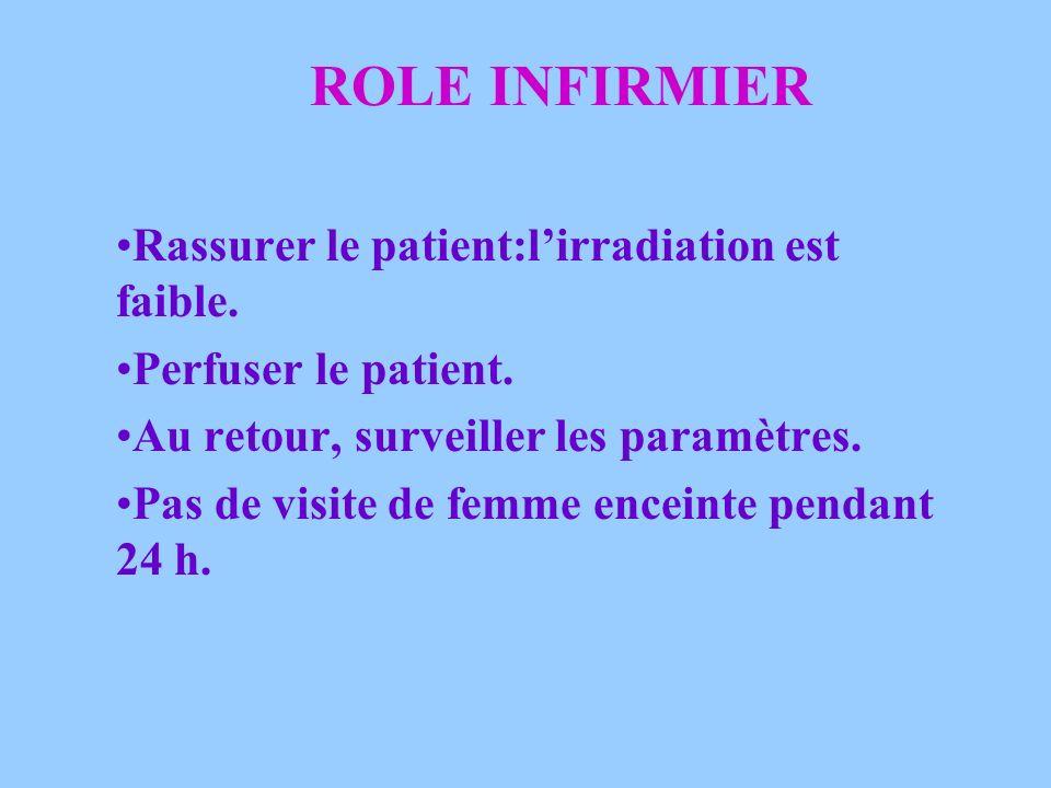 ROLE INFIRMIER Rassurer le patient:l'irradiation est faible.