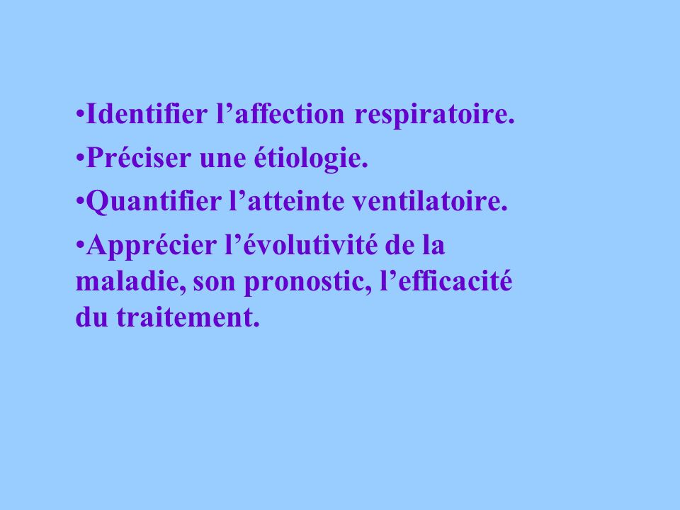 Identifier l'affection respiratoire.