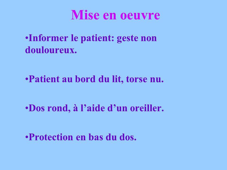 Mise en oeuvre Informer le patient: geste non douloureux.