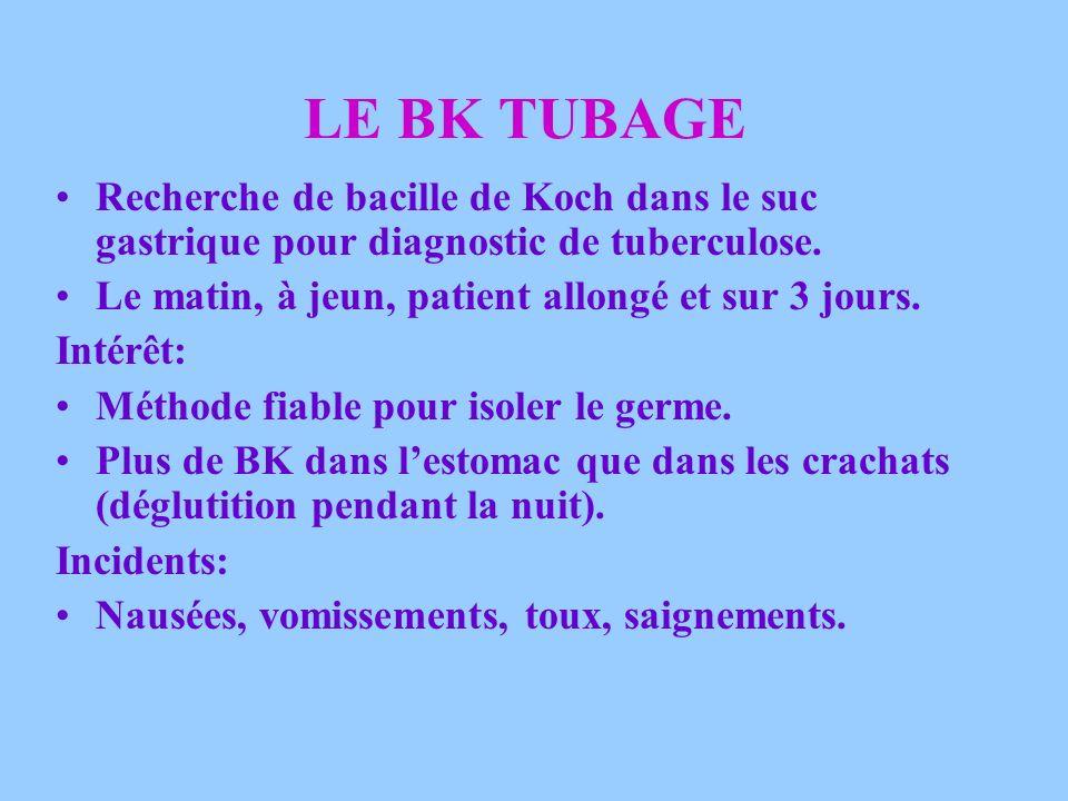 LE BK TUBAGE Recherche de bacille de Koch dans le suc gastrique pour diagnostic de tuberculose. Le matin, à jeun, patient allongé et sur 3 jours.