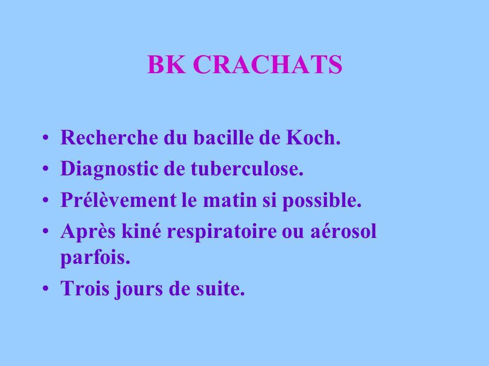 BK CRACHATS Recherche du bacille de Koch. Diagnostic de tuberculose.