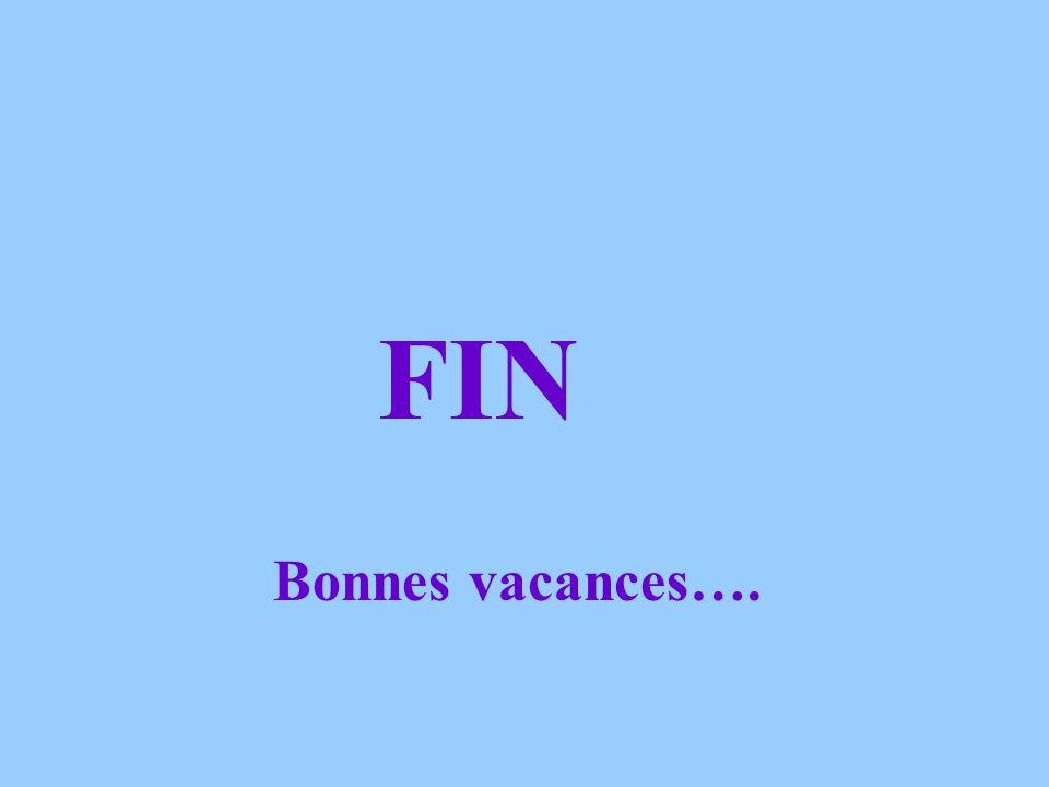 FIN Bonnes vacances….