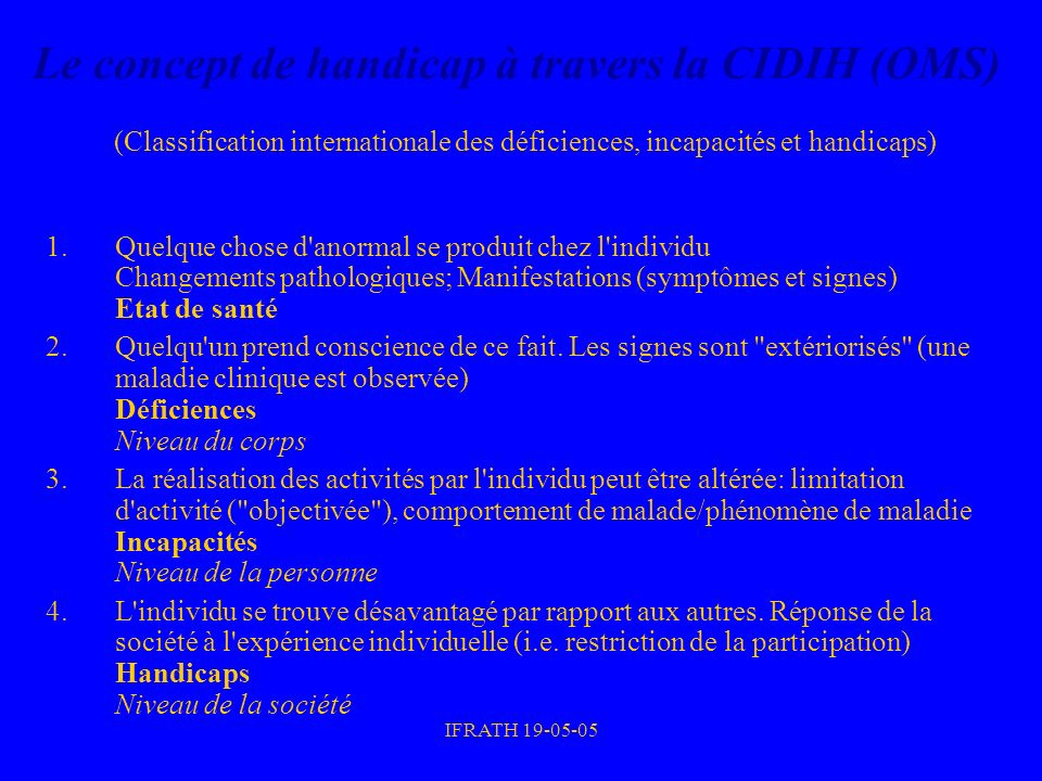 Le concept de handicap à travers la CIDIH (OMS) (Classification internationale des déficiences, incapacités et handicaps)